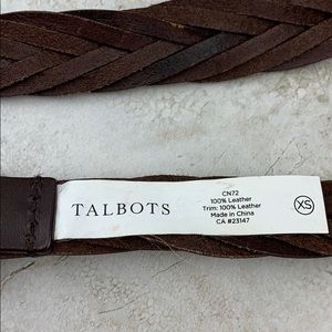 Talbots Accessories - TALBOTS-DARK-BROWN V PATTERN LEATHER BELT-XS